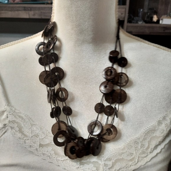 Paparazzi-wooden brown necklace set